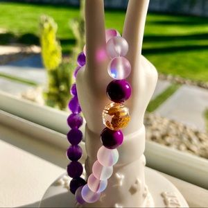 🕺🔮🧜♀️✨Mermaid Glass Bracelet with Unakite